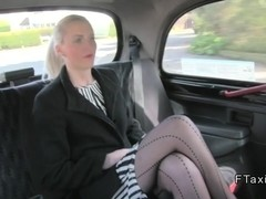 Long legged British blonde in fake taxi gives blowjob