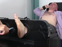 Feet fetish businessman takes a ride on my tickling machine