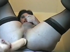 sissydonna_big dildo in bathroom