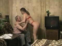 Russian grandpa making love with young nymphet