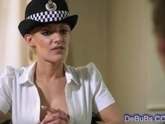 Super sexy blonde cop with huge tits
