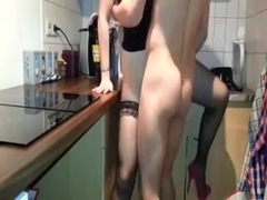 Fuck in the kitchen with stockings and heels