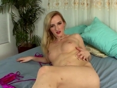 Skylar Green is a horny young blonde with an Hitachi
