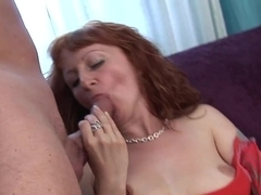 Redhead milf masturbates and does professional blowjob