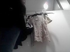 Gorgeous college hotty in taut hot jeans caught in the fitting room