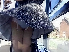 white lace windy upskirt stockings