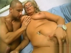 Submissive mature blonde lets younger man fucking her so hard in all holes!