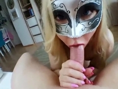 Exquisite Masked Blonde Gives Head