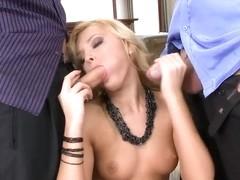 Real blonde Ivana Sugar eats cum of two dicks