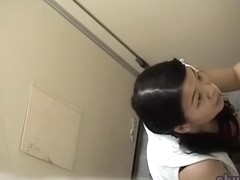 Jizz sharking attack with lovely Japanese girl receiving unexpected facial