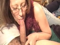 Hot MILF and young guy enjoy some oral pleasure
