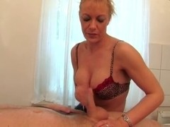 Non-Professional Blond Aged Tugjob