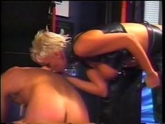 Golden-Haired headmistress spanks man