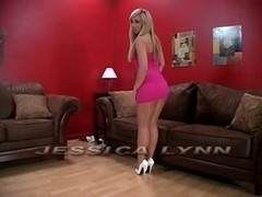 hawt blonde give footjob in hose