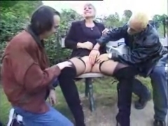 Nympho French Mature fucking two guys outdoors