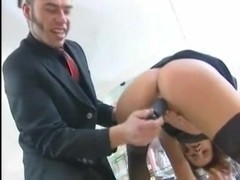 Slut drills her asshole with a dildo