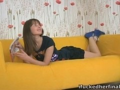 Nina is a sexy and seductive brown-haired beauty who is waiting for her boyfriend at her place.