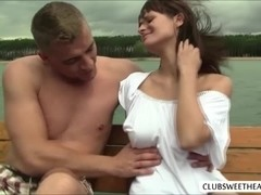 Slutty Rita E make love outdoors on lake with passion and love so intense