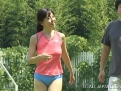 Japanese sporty gal enjoys sexual sports action