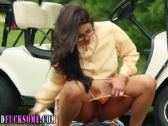 Euro glam hoe cummed on outdoors