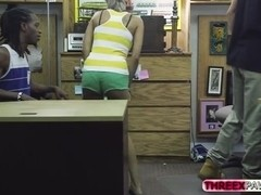 Black BF agrees to get his hot GF fucked in the shop for cash