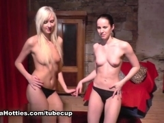 girl lesbians having fun at their first CASTING