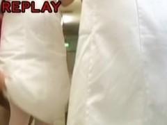 Public violation sharking of hot looking Japanese nurse