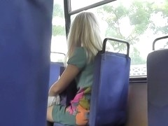 Nice-Looking upskirt cutie on a bus