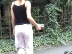 Fabulous brunette gets her pants pull down by some stranger