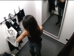 Sexy asian with big tits in changing room