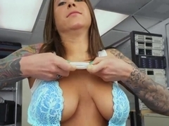 Sexy big ass and tits brunette babe riding monster big cock