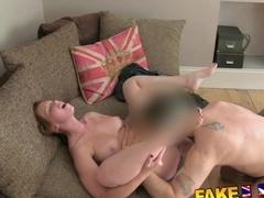 FakeAgentUK: Sexy busty redhead receives huge unwanted creampie