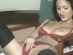 Vintage slut stripping and rubbing her cunt on couch