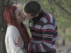 Teeny Lovers - Margo - Redhead teeny fucked in a park