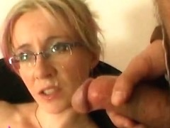 Horny housewife gets huge facial