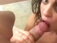 Vanessa gets a face full of jizz shots after a deepthroat