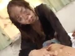 Naughty Japanese hottie tames two dicks