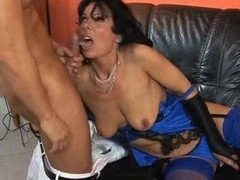 Hot MILF wore stockings while having sex