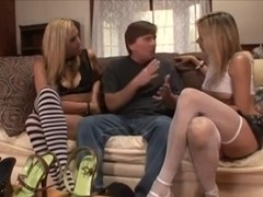 Chap with a foot fetish joined by 2 gals