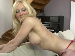 Blonde MILF whore anal fucked hard on the stairs