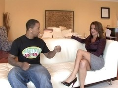 Raquel Devine - Gives Upskirt Before Interracial