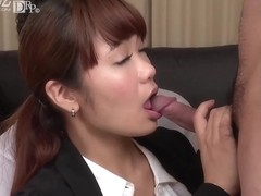 Asian woman is having casual sex with her business partners after they have arranged work stuff