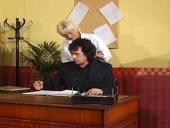 Secretary Gives Up Her Cunt To The Boss With Large Balls