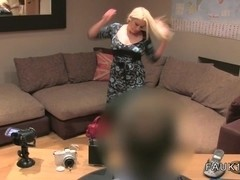 Busty blonde British bbw bangs on casting