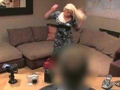 Busty blonde British bbw bangs on casting