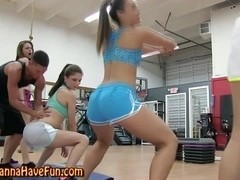 Flexible teens working out