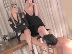 Glamour Honeys Have Submissive Girl Clean Shoes With Tongue