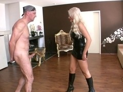 Vicious blonde dominatrix and her sissy serf