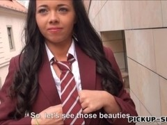 Schoolgirl flashes boobs anal fucked hard for a chunk of cash