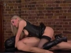 Buxom blonde domina tortures and fucks her slave